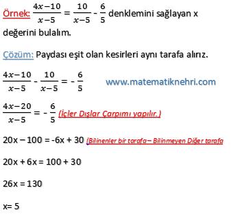 denklemler örnek 1