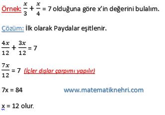 denklemler örnek