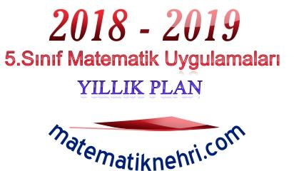 5.Sınıf Matematik Uygulamaları Dersi Yıllık Planı