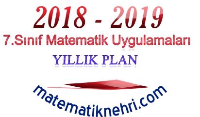 7.Sınıf Matematik Uygulamaları Yıllık Planı